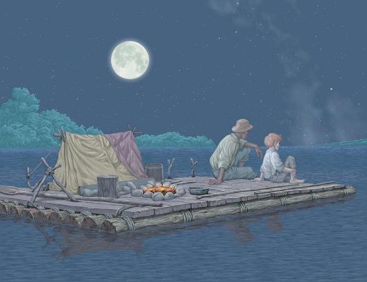 Huck and Jim On Raft
